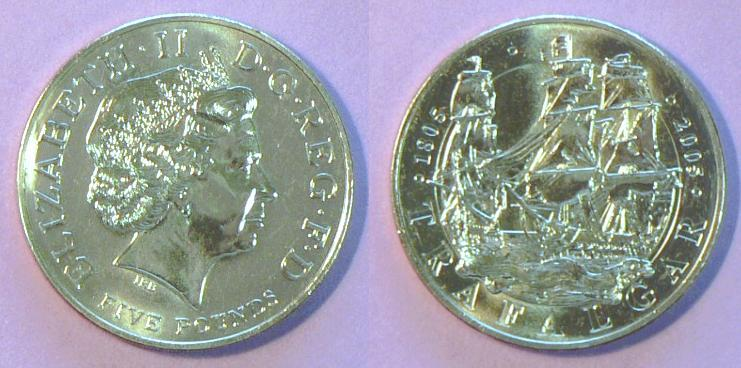 Great Britain 5-Pound Coin, Silver, Proof