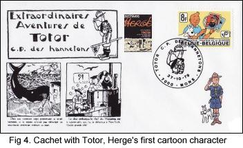 Cachet with Totor, Hergé's first cartoon character.