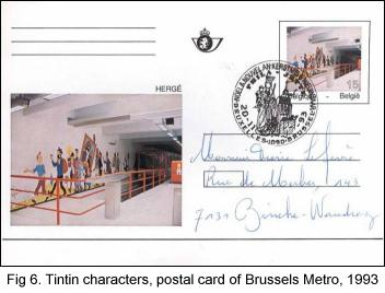 Tintin characters on postal card of Brussels Metro, 1993