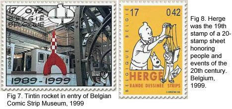 Tintin rocket in entry of Belgian Comic Strip Museum, 1999 and Herge as part of 20-stamp sheet, Belgium, 1999