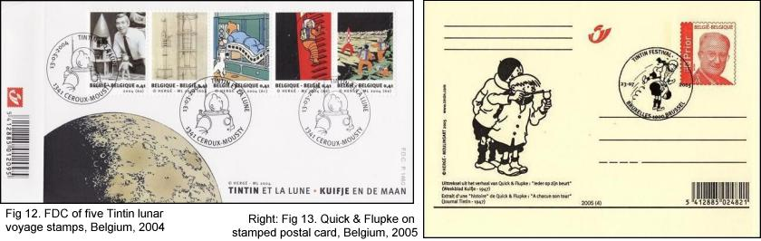 FDC of five Tintin lunar voyage stamps, Belgium, 2004 and Quick & Flupke on stamped postal card, Belgium, 2005