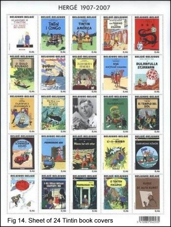 Sheet of all 24 Tintin book covers, Belgium, 2007