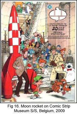 Tintin moon rocket on Comic Strip Museum S/S, Belgium, 2009