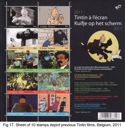 Sheet of 10 stamps depict previous Tintin films, 2011