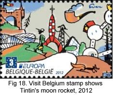 Visit Belgium stamp shows Tintin moon rocket, 2012