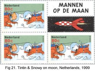 Tintin & Snowy on moon, Netherlands, 1999