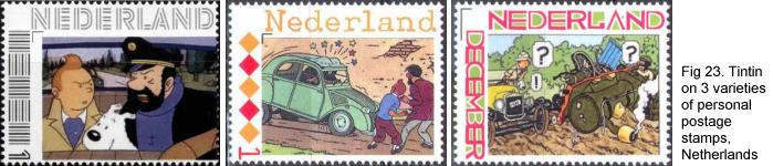 Tintin on personal postage stamps, Netherlands