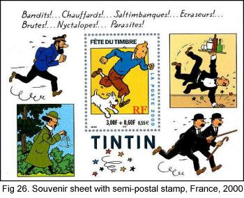 Tintin Souvenir sheet with semi-postal stamp, France, 2000