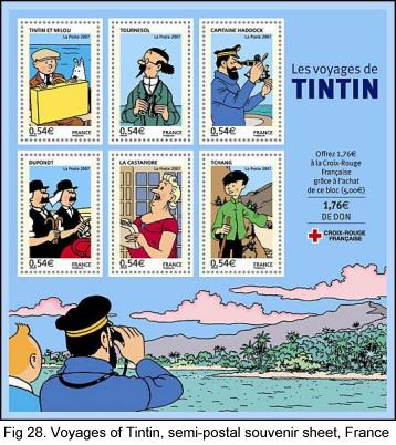 Voyages of Tintin, semi-postal souvenir sheet, France, 2007