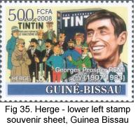 Herge in lower left of souvenir sheet, Guinea Bissau, 2008