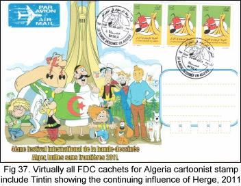All FDC cachets for Algeria cartoonist stamp include Tintin, 2011