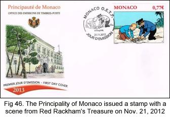 FDC of Monaco Tintin stamp issued Nov 21, 2012