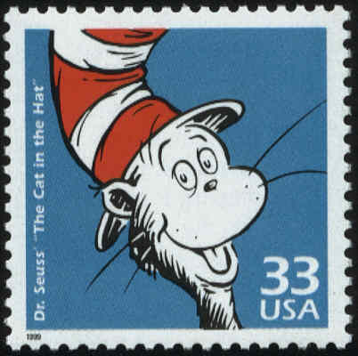 Dr. Seuss' The Cat in the Hat postage stamp.