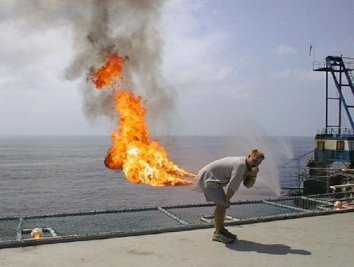 Fart fire on an aircraft carrier