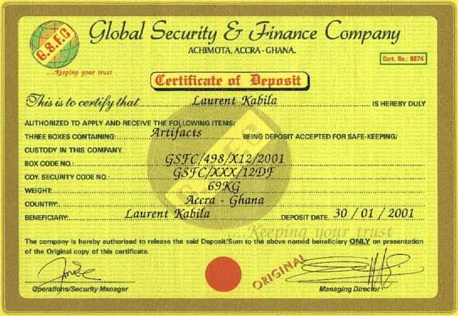 Counterfeit Certificate of Deposit (CD) - Ghana