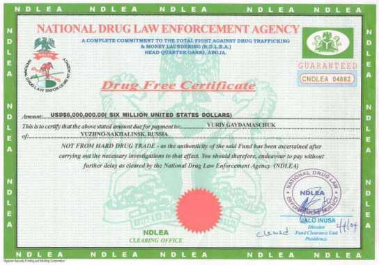Fake Drug Free Certificate