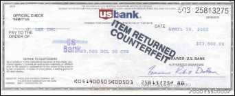 Bogus check from US Bank, Minneapolis, MN