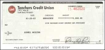 Counterfeit cashier's check from Teacher's Credit Union, South Bend, IN