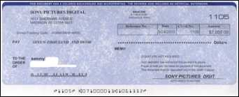 Counterfeit cashier's check from Sony Pictured Digital, Bank One, Chicago