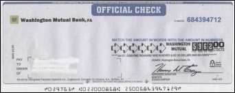 Counterfeit cashier's check from Washington Mutual Bank
