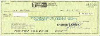 Bogus cashier's check from 1st National Bank, Polk Co., IL