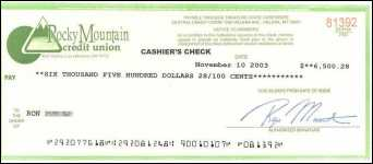Fraudulent cashier's check from Rocky Mt Credit Union, Helena, MT