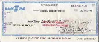Conterfeit official check from Bank One, Illinois