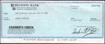 Bogus cashier's check from Regions Bank, Memphis, TN