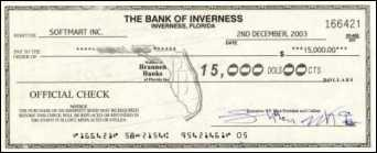 Fraudulent official check from Bank of Inverness, FL
