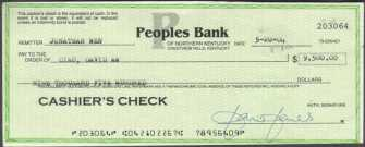 Conterfeit cashier's check from Peoples Bank or Northern Kentucky