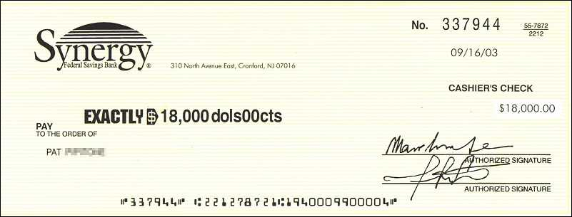 fake cashiers check from synergy bank cranford nj