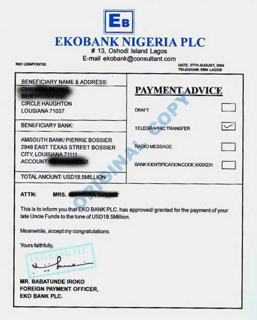 Awesome Bogus Payment Advice Nigeria  Payment Advice Template