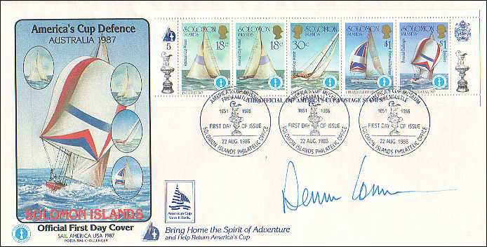 America's Cup First Day Cover autographed by Dennis Conner