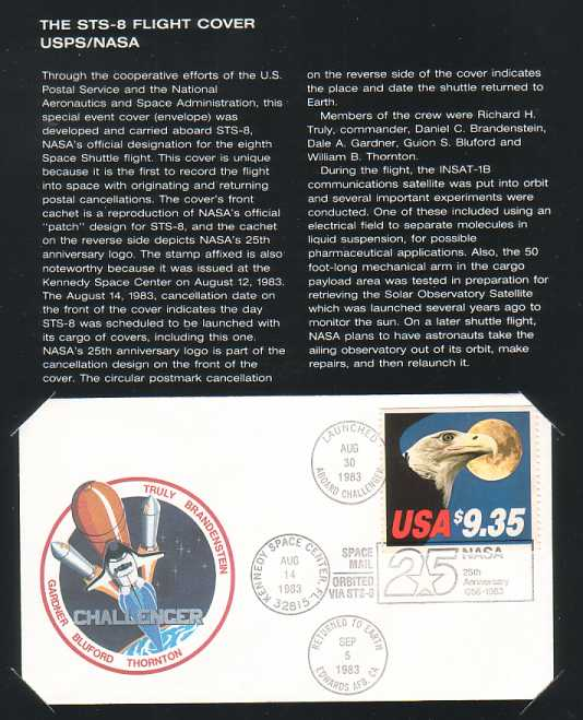Presentation folder Page 4 with the STS-8 Flight Cover