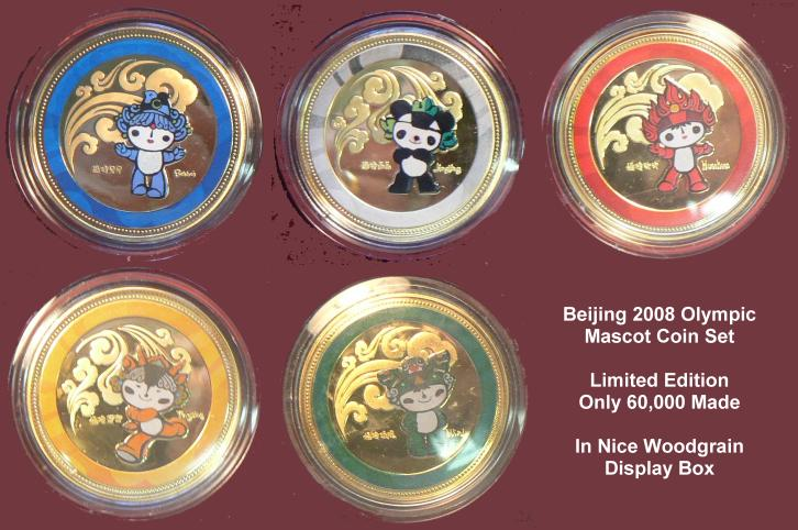 Set of 6 China Olympic coins