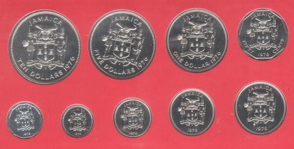 Set of 9 Jamaica Silver Coins ~ 1976 ~ BU