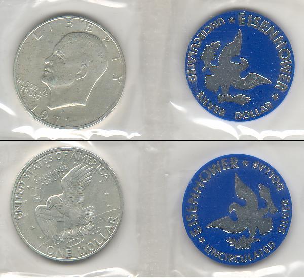 U S 1971 S Eisenhower Silver Dollar 40 Silver