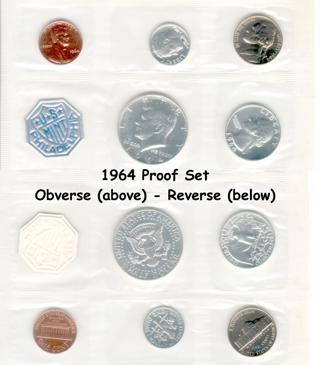 Mint Silver Proof Set Gem Coins **SEALED** 1964 U.S
