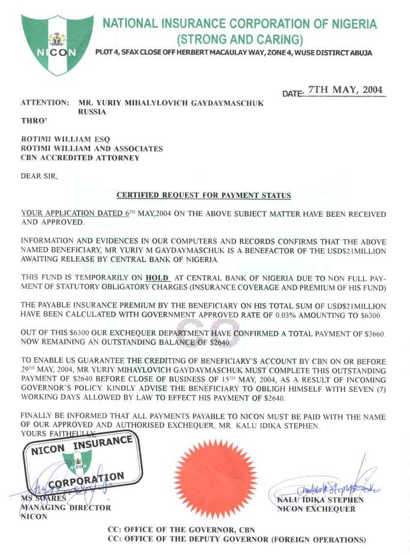 Used Certified Cars >> 30 phony documents used in Nigerian 4-1-9 frauds and car buying scams